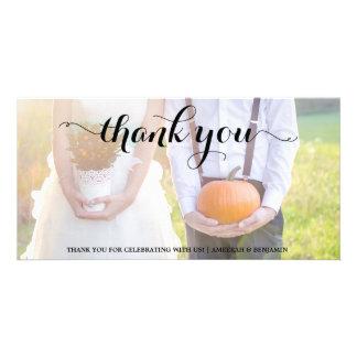 CALLIGRAPHY SCRIPT WEDDING THANK YOU PHOTO CARD