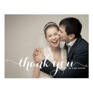Wedding thank you postcards zazzle ca calligraphy script wedding thank you postcard junglespirit Image collections