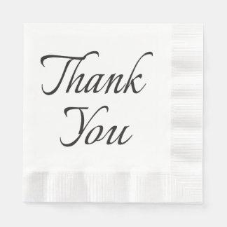 Calligraphy Thank You Black And White Napkins Paper Napkin