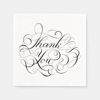Calligraphy Thank You Black & White Wedding Party Disposable Napkin