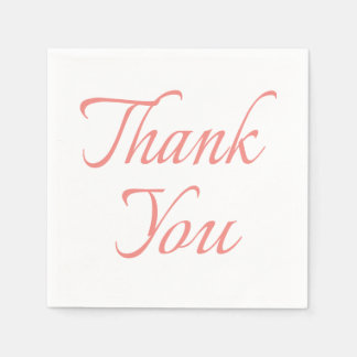 Calligraphy Thank You Pink And White Napkins Disposable Napkins