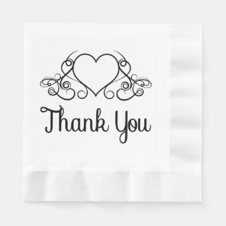 Calligraphy Thank You Pink And White Napkins Paper Napkin