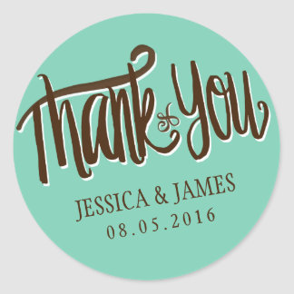 Calligraphy Thank You Wedding Favour Sticker