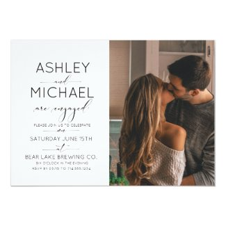 Calligraphy Typography 2 Photo Engagement Party Card