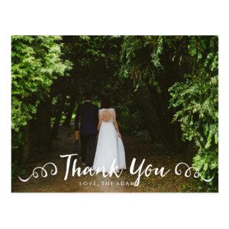 Calligraphy Wedding Photo Thank You Card