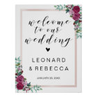 Calligraphy Welcome wedding sign roses frame