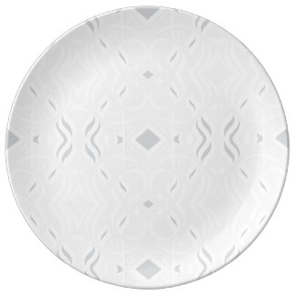 Calligrapphic Dinnerplate in White and Grey Plate