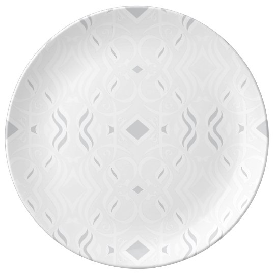 Calligrapphic Dinnerplate in White and Grey Porcelain Plate
