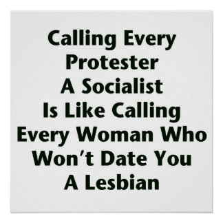Calling Every Protester  A Socialist  Is Like... Poster