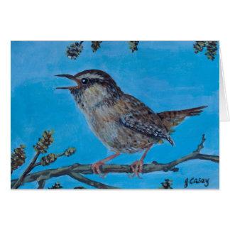 Calling Wren artwork by Joanne Casey Greeting Card