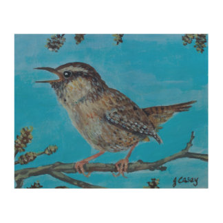 Calling Wren by Joanne Casey Wood Wall Art
