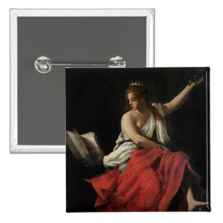 Calliope, Muse of Epic Poetry 2 Inch Square Button