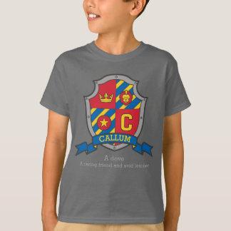 Callum boys C name & meaning knights shield T-Shirt