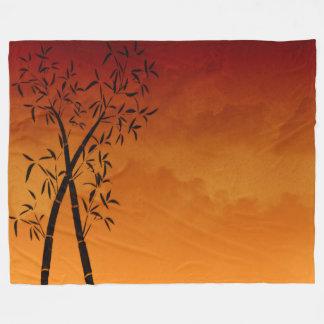 Calm Bamboo and mountain view Scene Fleece Blanket