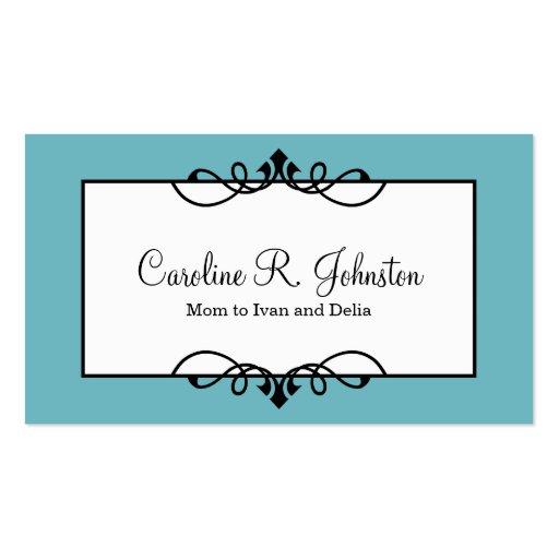 calm blue border classic frame custom mommy card pack of