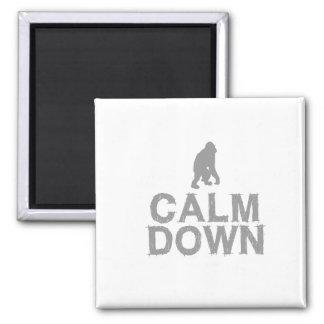 Calm Down. Grey Monkey Design Square Magnet