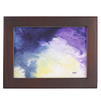 Calm happy blue yellow white abstract painting keepsake box