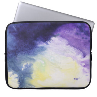 Calm happy blue yellow white abstract painting laptop sleeve