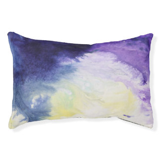 Calm happy blue yellow white abstract painting pet bed