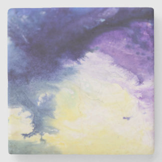 Calm happy blue yellow white abstract painting stone coaster