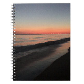 Calm morning beach sunrise notebook