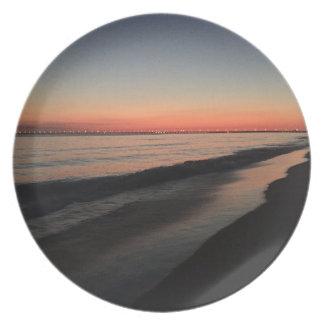 Calm morning beach sunrise plate