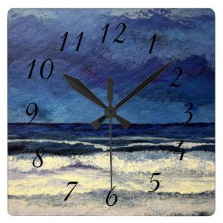 Calm Night Sea Ocean Waves Beach Surf Clock