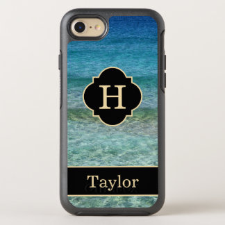 Calm Ocean Waves Monogram With Name OtterBox Symmetry iPhone 7 Case