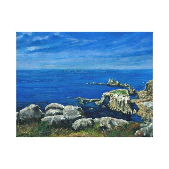 Calm sea Lands End Cornwall Canvas Print