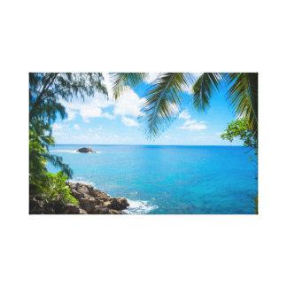 Calm Seas Palm Trees Canvas Print