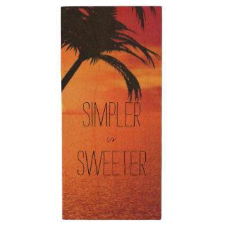 Calming Beach Simpler is Sweeter Wood USB 2.0 Flash Drive