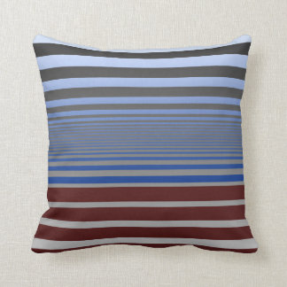 Calming Blue and Burgundy Gradient Stripes Throw Pillow