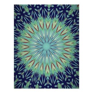 Calming Blue Green Mandala Pattern Letterhead Design