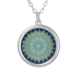 Calming Blue Green Mandala Pattern Silver Plated Necklace
