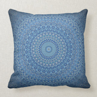 Calming Blue Mandala Throw Pillow