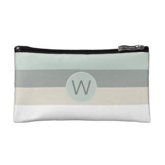 Calming Colors Minimalist Stripes with Monogram Cosmetic Bags