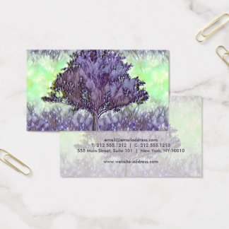 Calming Tree of Life in Purple and Lime Green Business Card