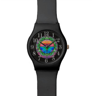 Calming Tree of Life in Rainbow Colors Wristwatch