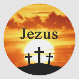 Calvary Sunrise Jezus Classic Round Sticker