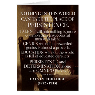 Calvin Coolidge 'Persistence' Quote Card