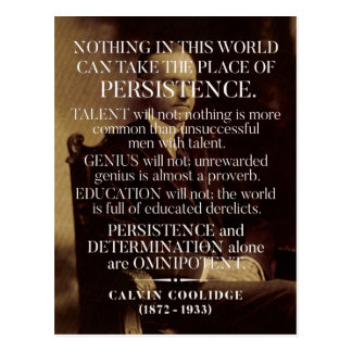 Calvin Coolidge 'Persistence' Quote Postcard