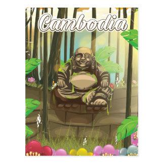 Cambodia Buddah vintage travel poster Postcard