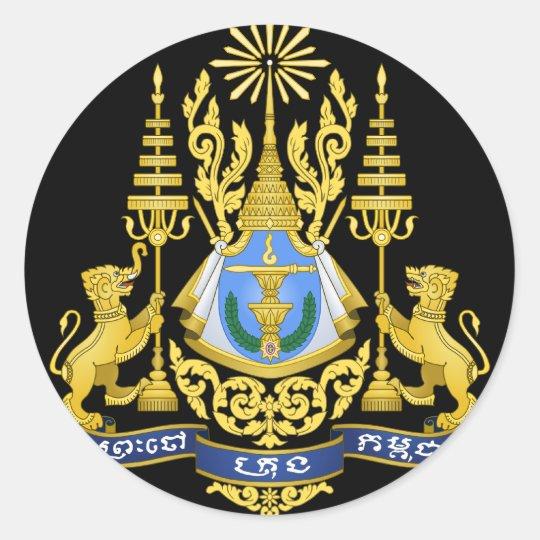 cambodia emblem classic round sticker