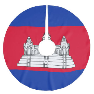 Cambodia Flag Brushed Polyester Tree Skirt