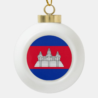 Cambodia Flag Ceramic Ball Christmas Ornament
