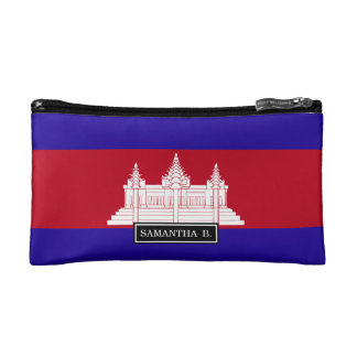 Cambodia Flag Cosmetic Bag