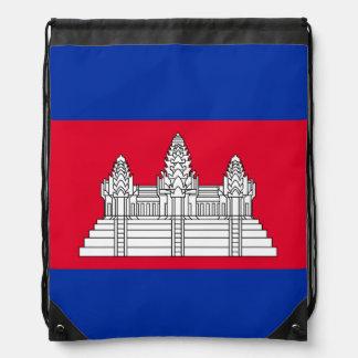 Cambodia Flag Drawstring Bag
