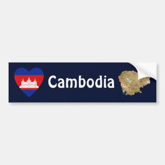 Cambodia Flag Heart + Map Bumper Sticker