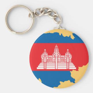 Cambodia flag map basic round button keychain