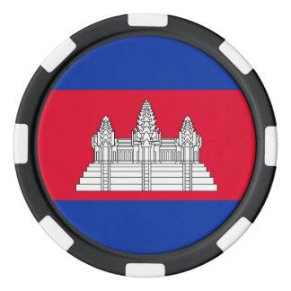 Cambodia Flag Poker Chips